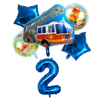 6pcs Cartoon automobilių buldozeris folija balionas 30-colių skaitmeninis star rinkinys Happy birthday party baby shower apdailos berniukas balionai